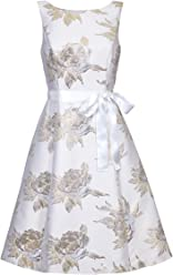 Ariella Roberta Cream Floral Jacquard Fit and Flare Knee Length Dress