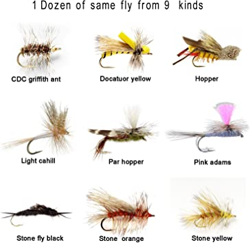 1 dozen Adams Parachute Dry Fly Trout Fishing Flies #12 #14 #16 #18