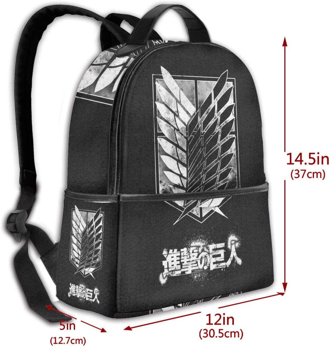 Coo-kid Attack On Titan-College Big Capacity Travel Backpack Lightweight Laptop Backpack with USB Charging Port