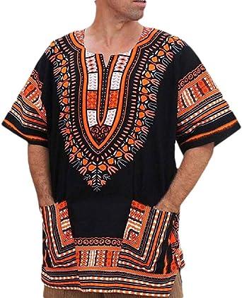 Hombres Manga Corta Tradicional Africana Dashiki Tribal Hippie Camisa Bolsillos - Naranja - Medium: Amazon.es: Ropa y accesorios