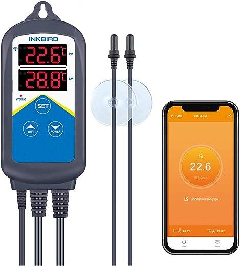Inkbird WLAN ITC-306A Temperaturregler Aquarium Thermostat mit Doppelsonde für Salzwasserr Fischbecken Terrarium