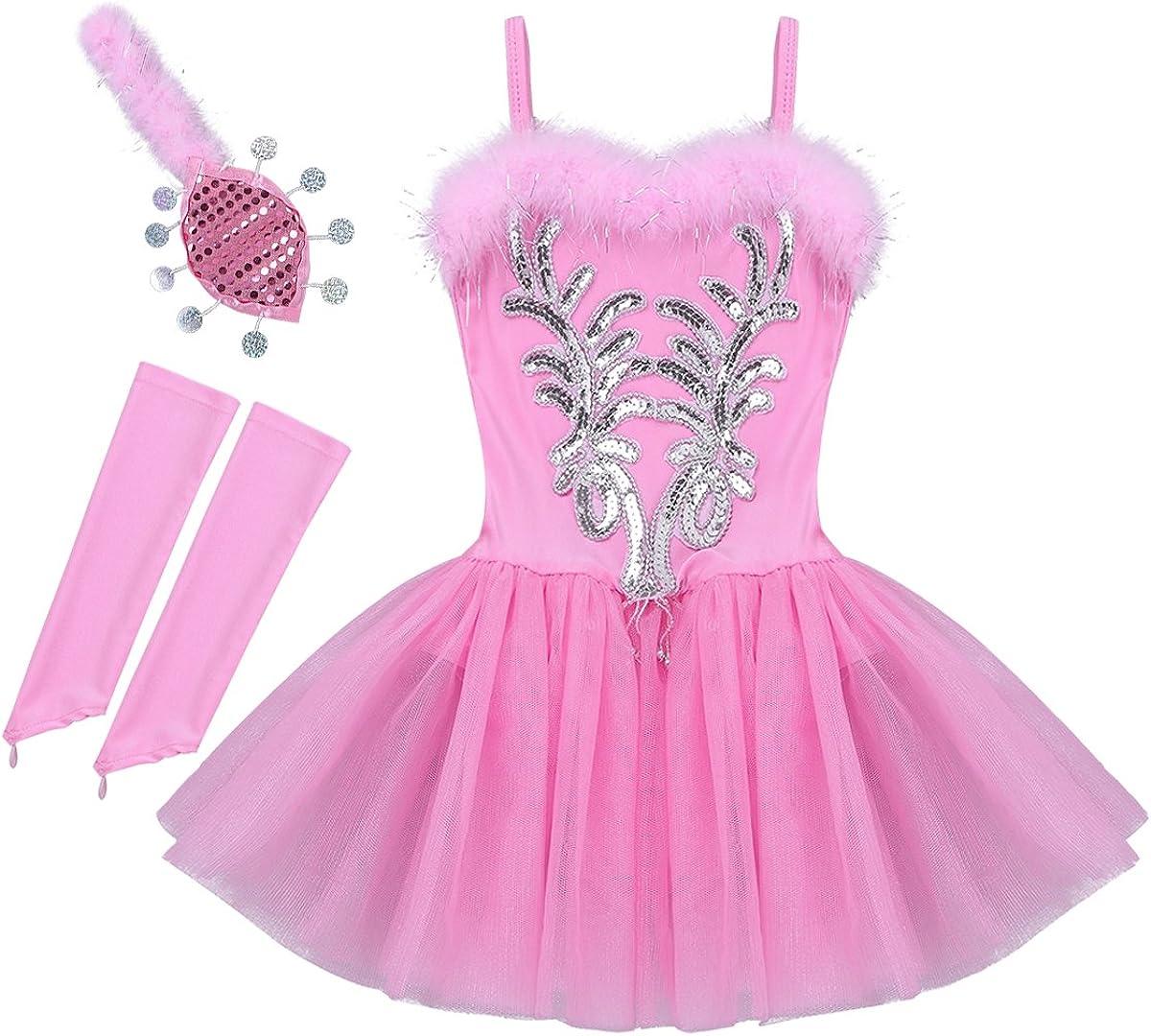 dPois Vestido Maillot de Ballet Danza para Niña Tutú Ballet Princesa Vestido Lentejuelas Brillantes + Guantes + Clip Vestido de Patinaje Artistico Disfraz Traje Bailarina