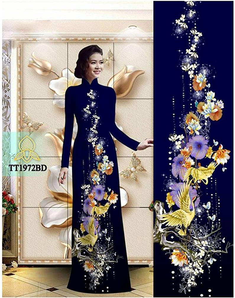 Silk 3D ADVN00971 Traditional Vietnamese Long Dress Collections with Pants Ao Dai
