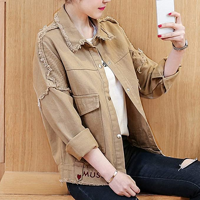 Amazon.com: Huiwa Womens Denim Jacket Loose Letter Embroidery Bomber Jacket Long Sleeve Loose: Clothing