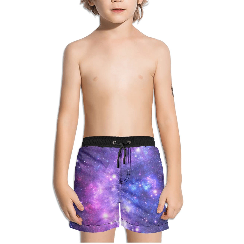 FullBo Purple Space Stars Nebula Little Boys Short Swim Trunks Quick Dry Beach Shorts