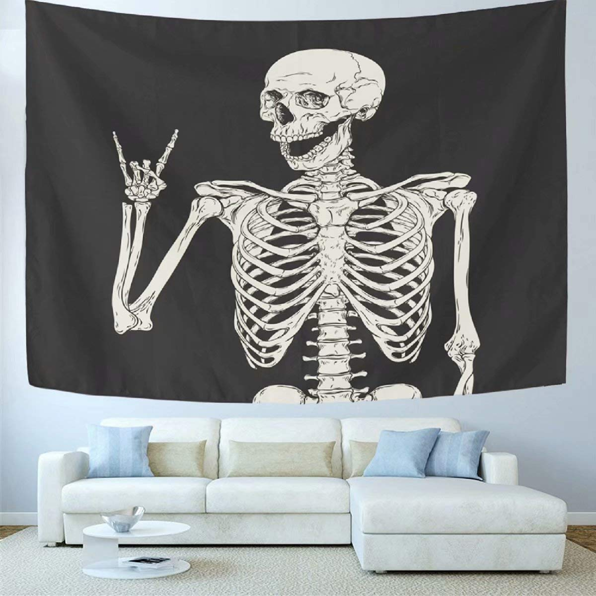 Wamika Skull Tapestry Wall Hanging Rock and Roll Home Decor Tapestries Wall Art Funny Skeleton Boho Hippie Bohemian Tapestry for Dorm Living Room Bedroom Black and White 60 X 60 Inches
