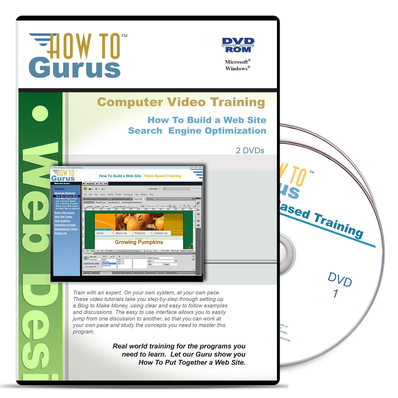 SEO Search Engine Optimization Plus How to Build a Web Site Tutorial Training on 2 DVDs 19 Hours in 184 Video Lessons Computer Software Tutorials by How To Gurus