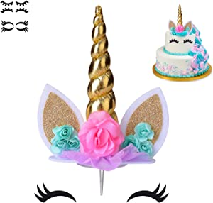 COONOE, Unicorn Cake Topper,Handmade Party Cake Decoration Supplies with multiple Eyelashes,Reuasble Gold Horn for Birthday Party,Baby Shower&Wedding