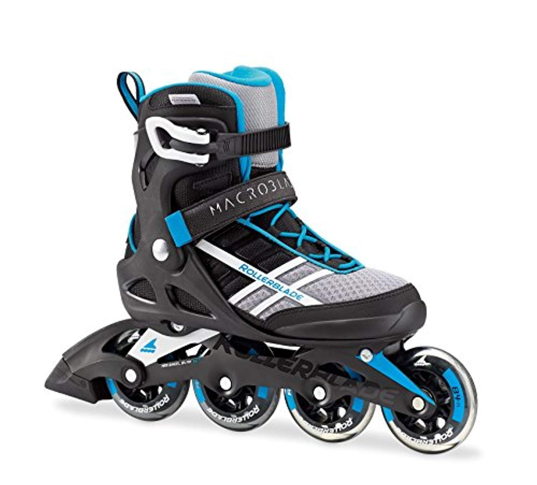 RollerbladeレディースMacroblade 84 Skates &ヘッドバンドバンドル B07DK3L74K White / Cyan Blue 23
