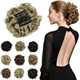 Yamel Messy Curly Hair Bun Extensions Combs Clip in Bun Stretch Chignon Updo Hairpiece Scrunchie Ash Blonde