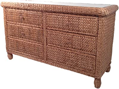 Wicker Paradise BL107 Key West Miramar Natural Fibers Six Drawer Double Dresser, Large