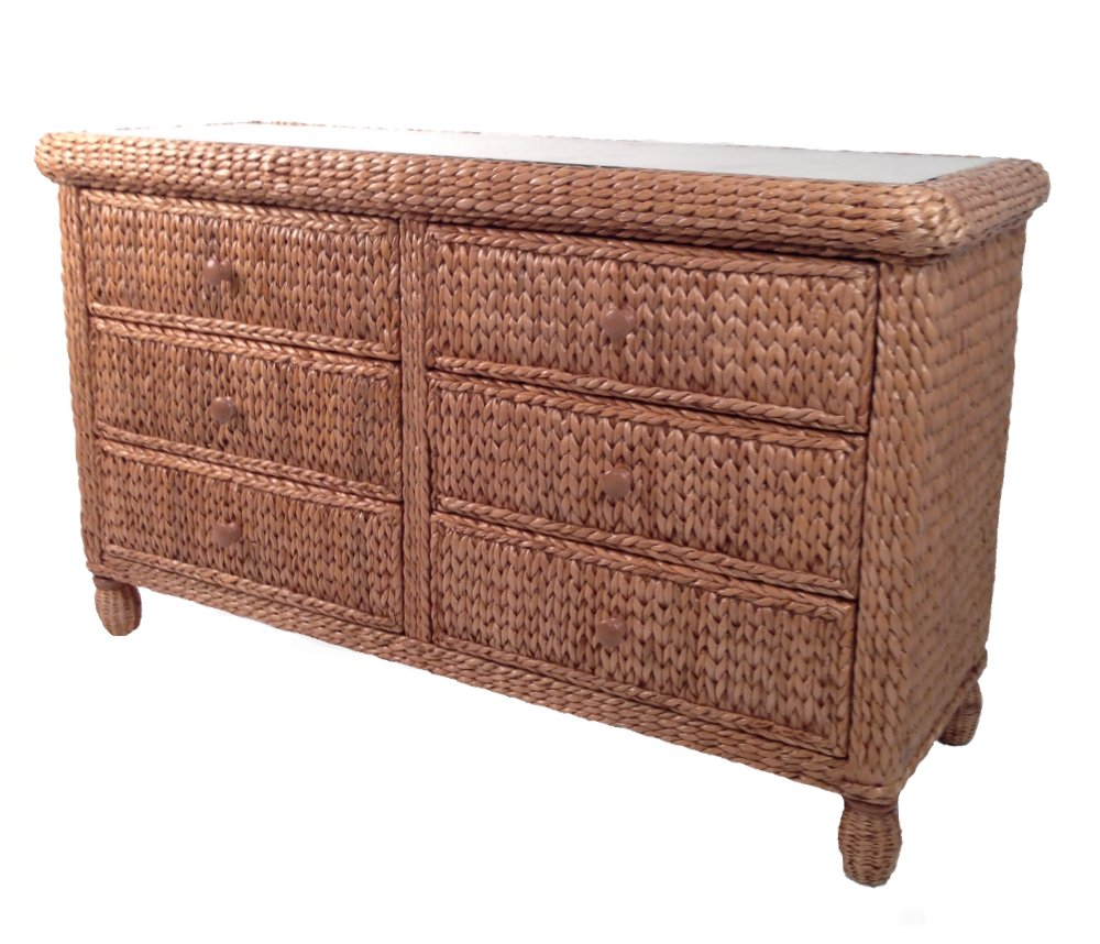 Wicker Paradise Key West Miramar Natural Fibers Six Drawer Double Dresser, Large by Wicker Paradise