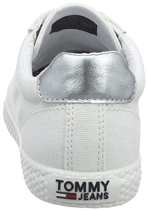 Amazon.com | Tommy Hilfiger Tommy Jeans Casual Sneaker Womens Trainers White Silver - 41 EU | Fashion Sneakers