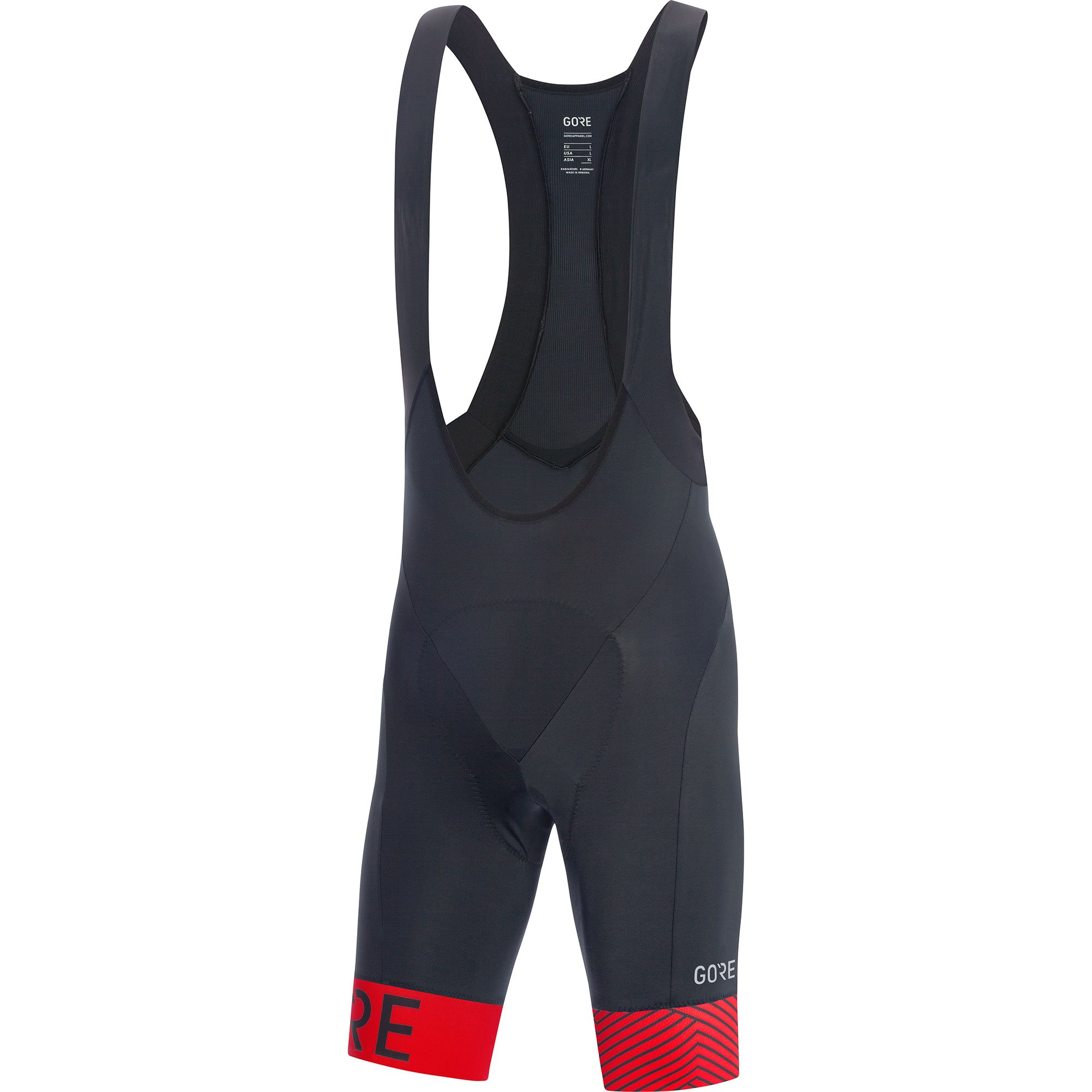 GORE Wear C5 Men's Short Cycling Bib Shorts With Seat Insert, XL, Black/Rot