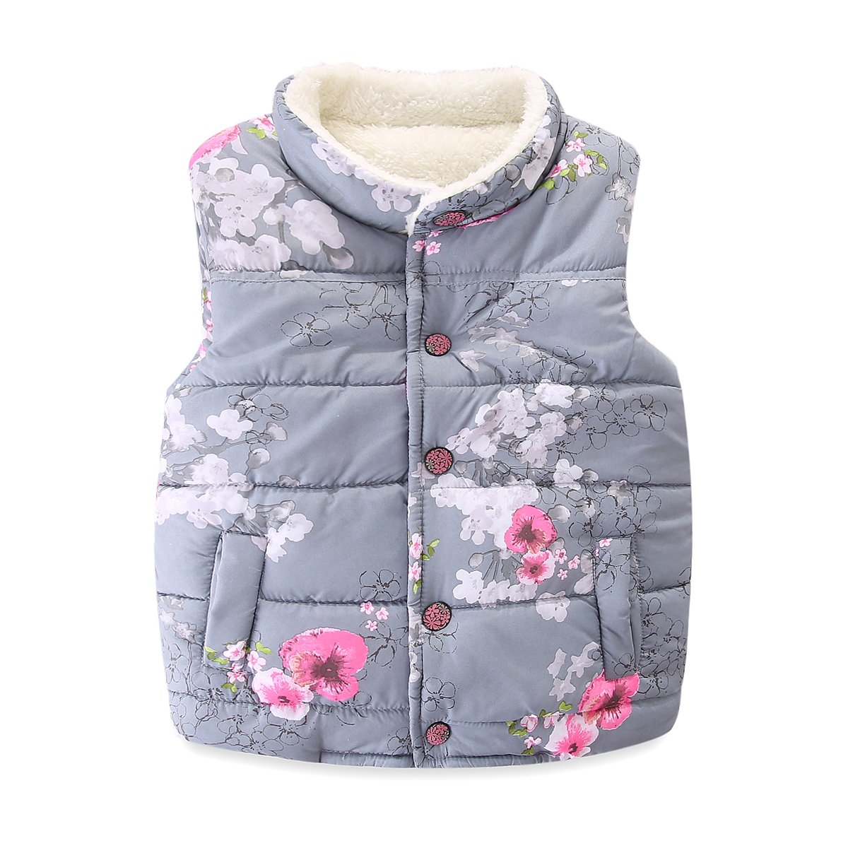 Mud Kingdom Girls' Floral Faux Fur Cute Hooded Vests Outerwear S-S0210