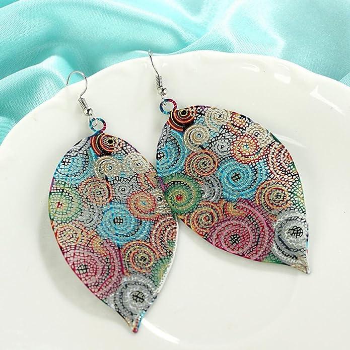 JUESJ Colorful Bohemian Geometric Rhinestone Beads Hoop Buckle Earrings for Women Girls Party Wedding Gifts