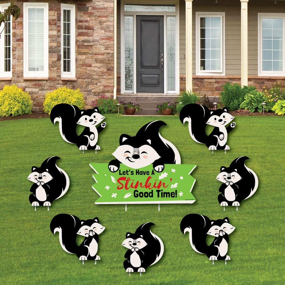 Little Stinker Yard Sign And Outdoor Lawn Decorations Woodland Skunk Baby Shower Or Birthday Party Yard Signs Set Of 8 Garden Outdoor Amazon Com