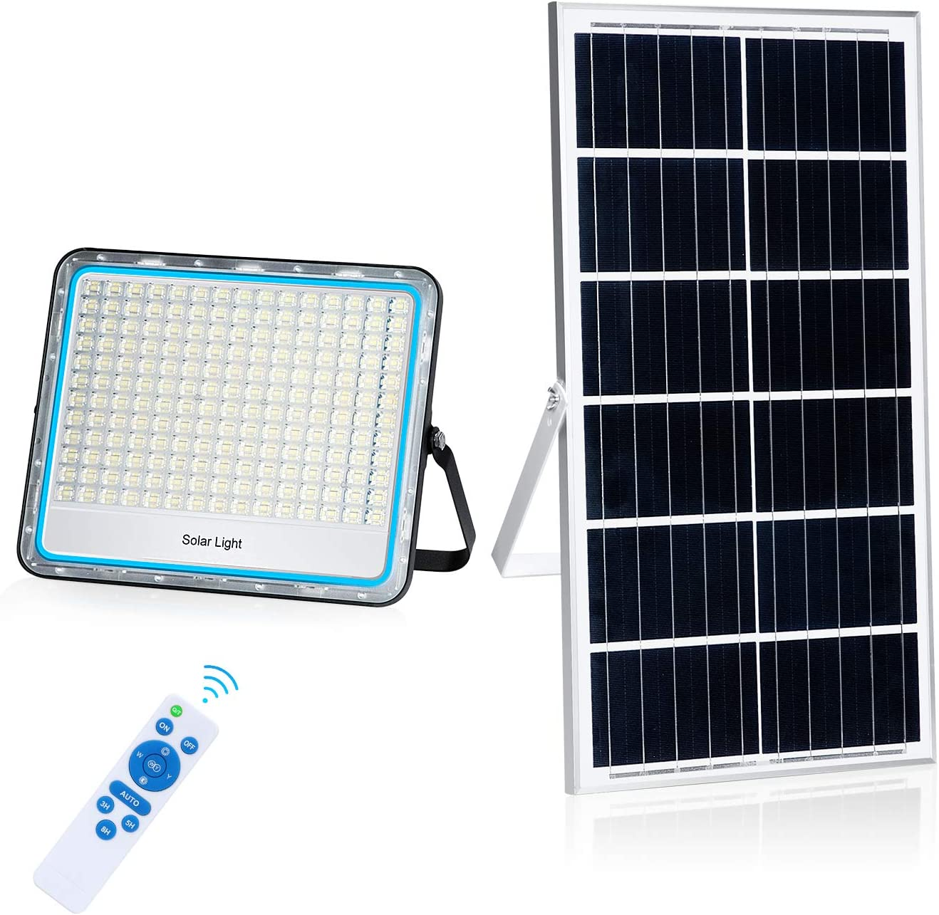 200W LED Solar Flood Light 360LED 6500K 36000mAH Waterproof IP67 with Remote Control
