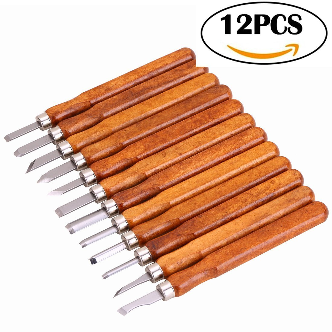 Wood Carving Tools Kit, including 12 pieces Professional Woodcut Chisels and Knives, For Wooden Crafts DIY Use XLY XLY-089