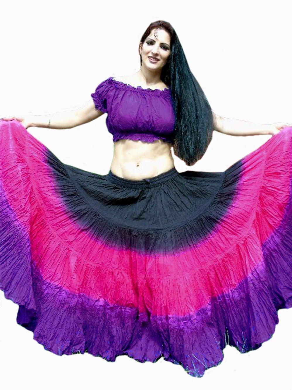 Noir rose violet Femme ATS Belly Dance 22,9 m Coton Maxi Jupe – ATS Dance   Danseur du Monde