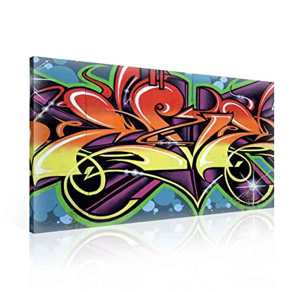 Amazon.com: Ready to Hang Canvas Wall Art - Cool Abstract Urban ...