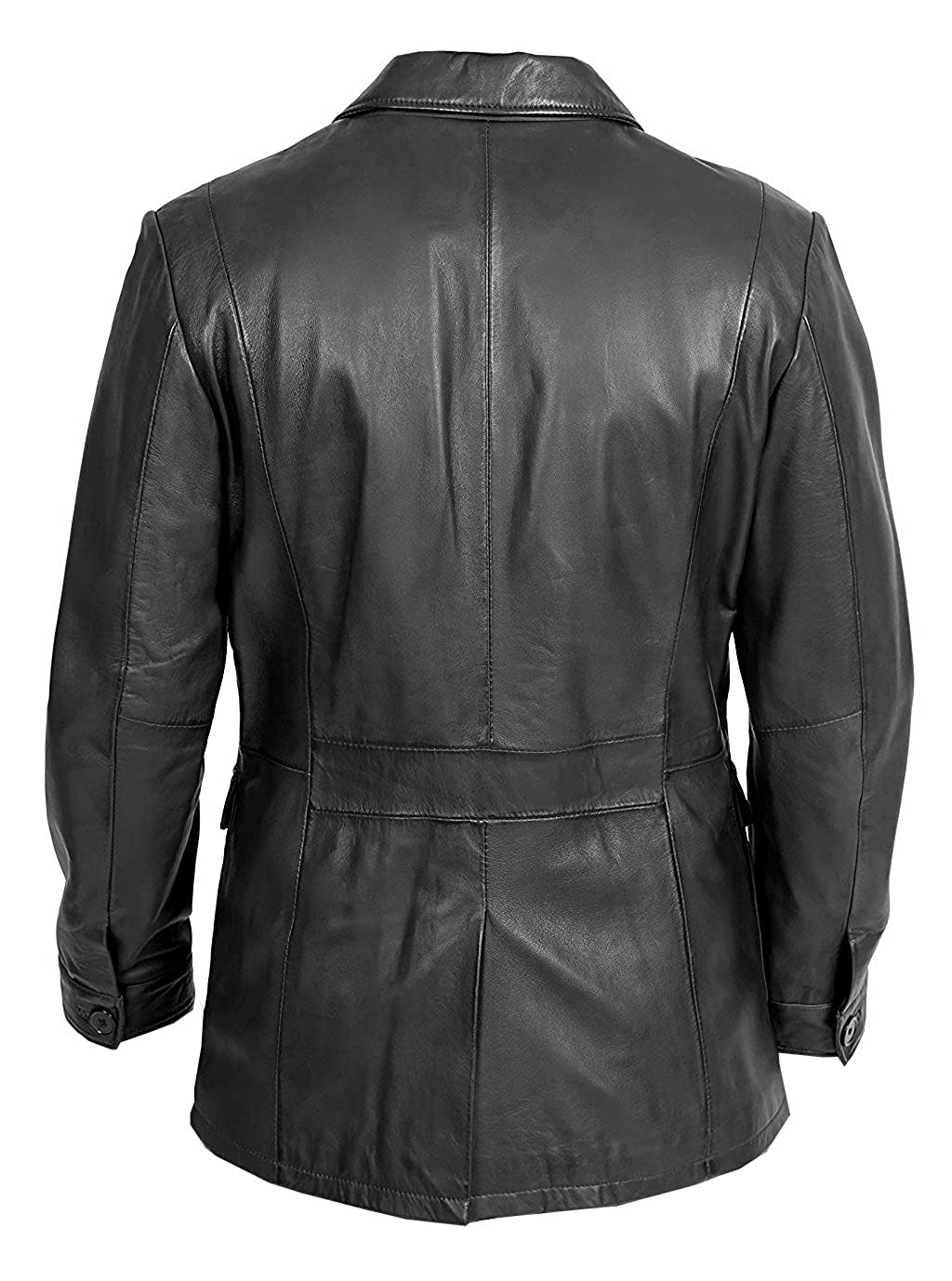 a68994a85e1 VearFit Men s 4-Holes Buttons Real Leather Coat Blazar Plus Size at Amazon  Men s Clothing store