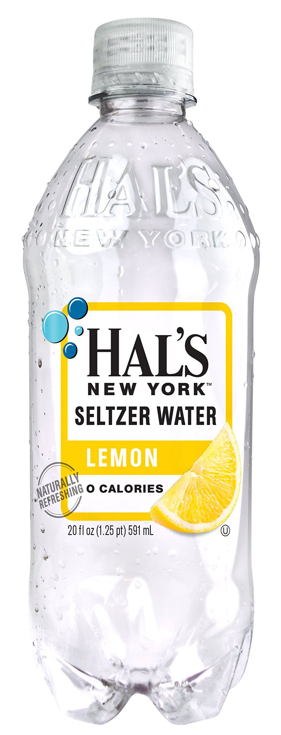 Hal's NY Seltzer Water 20 Oz Bottles (Pack of 24) (Lemon) by Hal's New York