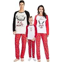 RAISERVEN Mujer Hombre Familia de Navidad a Juego Set de árbol de Manga Larga Pijama de Dormir Top Pantalones Establece…