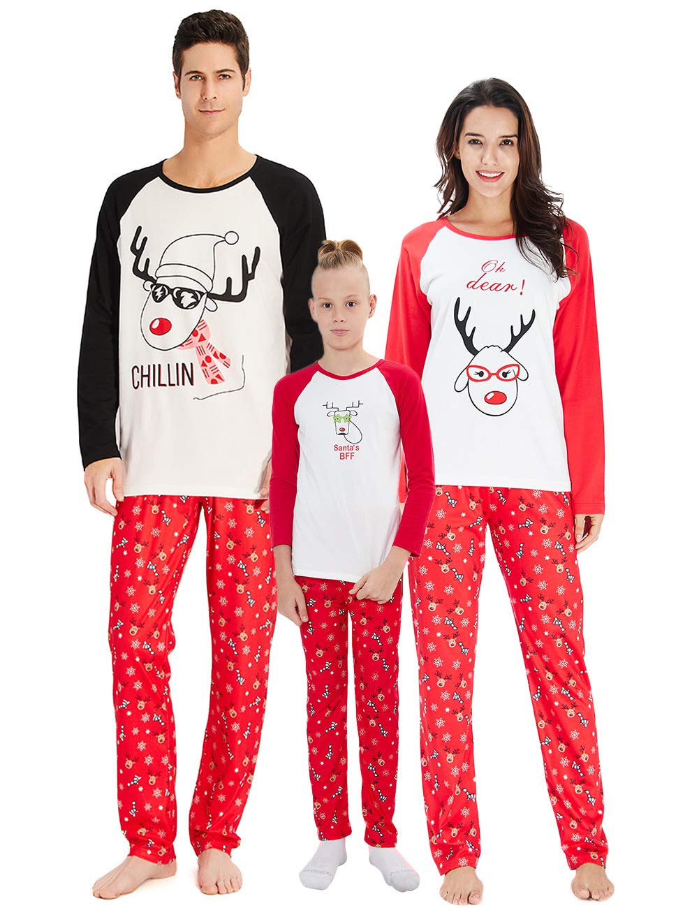 Christmas Family Matching Pyjama, Funny Santa Deer Chillin Letter Print Mommy Daddy Kids Sleepwear Pajamas Baby Long Sleeve Set Men