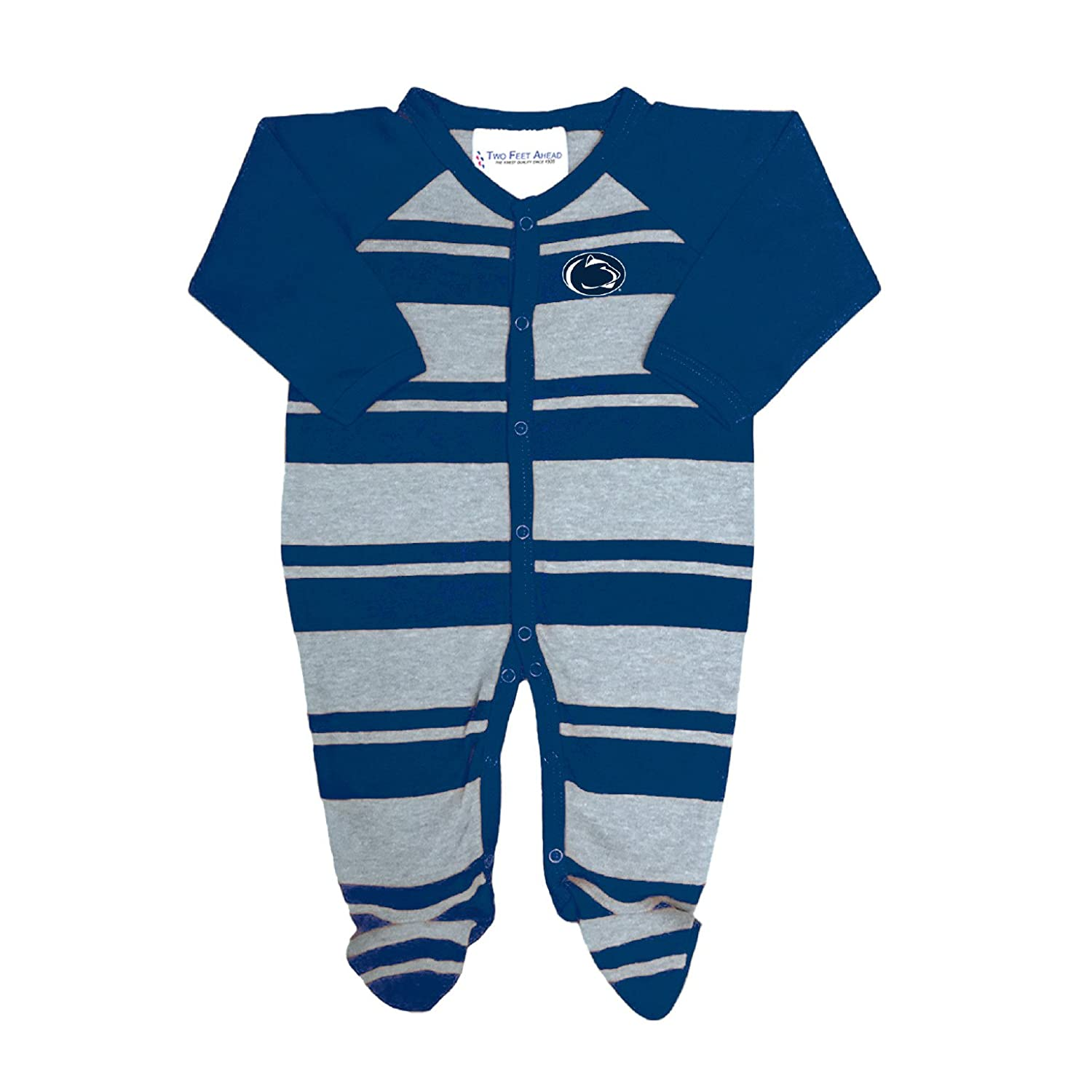 Two Feet Ahead Penn State Nittany Lions NCAA Newborn Baby Long Sleeve Rugby Footed Romper