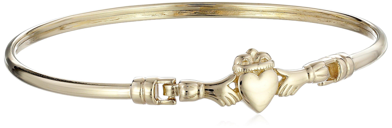 14k Gold Small Claddagh Bangle Bracelet, 7.5''
