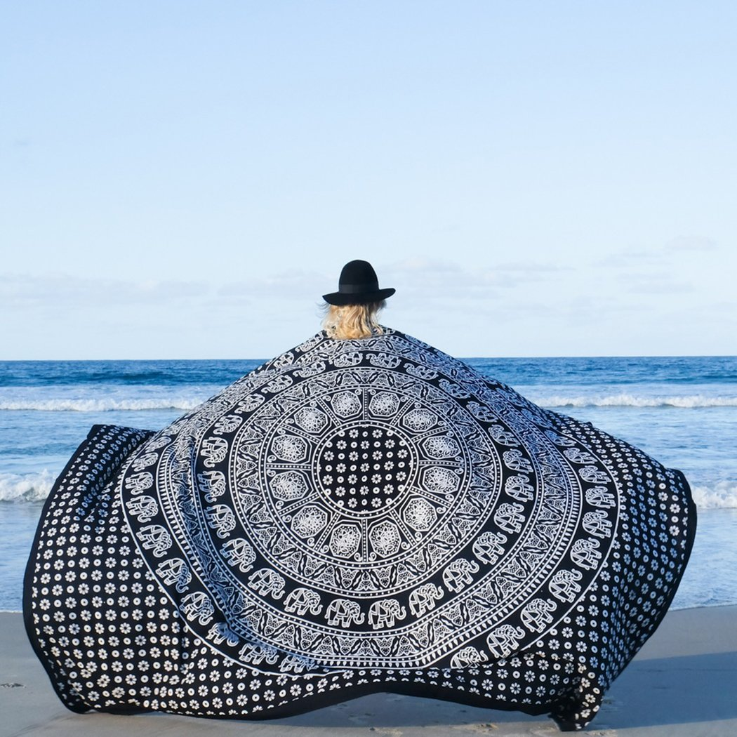 FLY SPRAY Indian Mandala Large Square Beach Throw Tapestry Lightweight Polygon Hippy Boho Gypsy Tablecloth Turban Blanket Shawl Psychedelic Yoga Mat Black & White (80x58inches)