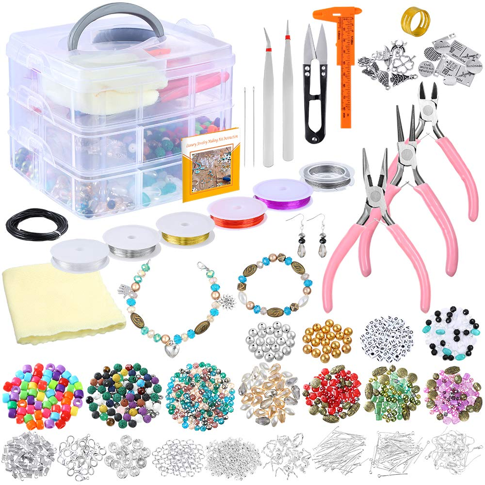 PP OPOUNT Deluxe Jewelry Making Supplies Kit with Instructions Includes Assorted Beads, Charms, Findings, Bead Wire and Cord, Pliers, Caliper and Storage Case for Necklace, Bracelet, Earrings Making by PP OPOUNT