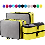 6 Set Packing Cubes,3 Various Sizes Travel Luggage Packing Organizers (Yellow Pure Black Net)