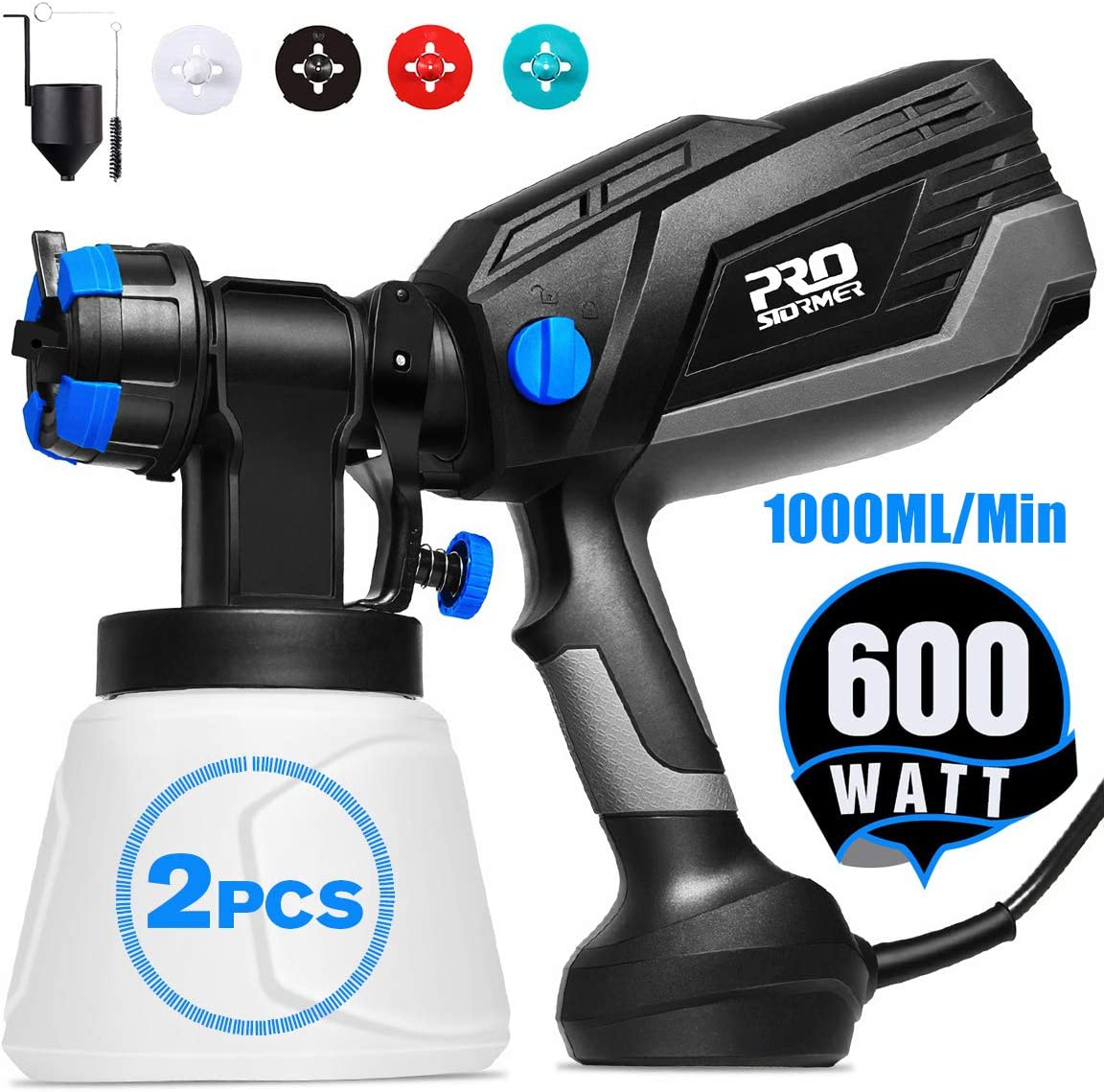 Paint Sprayer, Prostormer 1000ml min HVLP Electric Paint Spray Gun with 3 Spraying Patterns, 4 Nozzle Sizes, 2Pcs 1000ml Detachable Containers, Easy to Spray and Clean