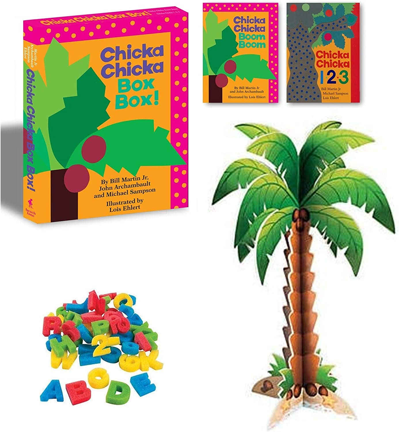 Amazon Com Chicka Chicka Boom Boom And Chicka Chicka 1 2 3 By Bill Martin Jr And Activity Gift Set Includes Alphabet Numbers Coconut Tree Toys Games