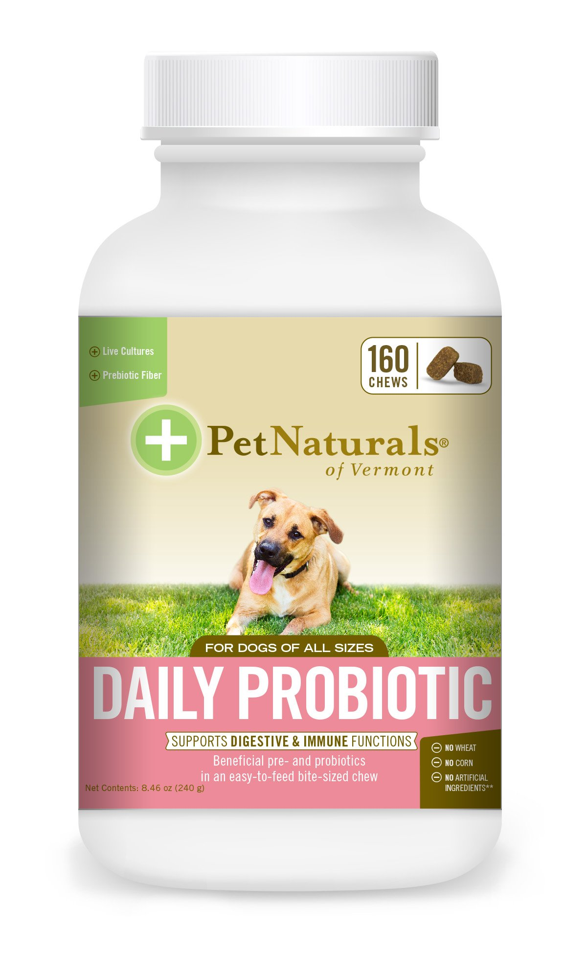 Pet Naturals of Vermont - Daily Probiotic for Dogs, Digestive Health Supplement, 160 Bite Sized Chews