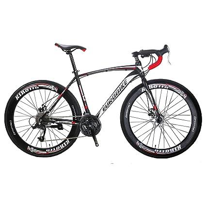 Exceptional EUROBIKE Road Bike XC550 27 Speed 700C Road Bicycle Dual Disc Brake Bicycle  Black White