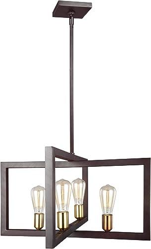 Feiss F3145 4NWB Finnegan Urban Lantern Pendant Lighting, Bronze, 4-Light 24 W x 14 H 240watts