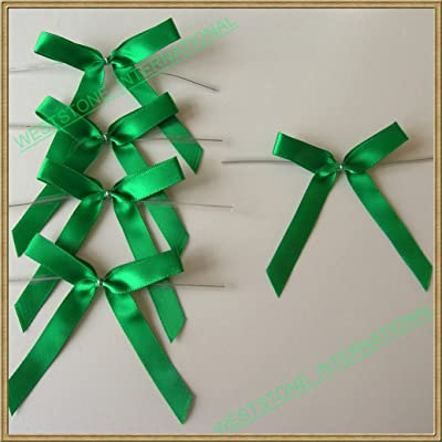 "Weststone 25pcs 2 1/2"" Solid Green Satin Fabric Pre-Tied Ribbon Bows for Cello Bags : Garden Twist Ties : Garden & Outdoor"