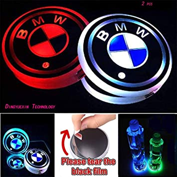 LED Interior Atmosphere Lamp 2 PCS Nobrand Cup Holder Lights for B e n z,Car Logo Coaster with 7 Colors Changing USB Charging Mat Luminescent Cup Pad