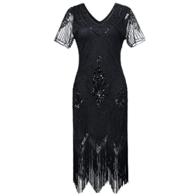 da09eea3 Gatsby 1920s Flapper Dress Women Vintage Sequin Fringe Beaded Art Deco  Fancy Dress with Sleeve for Party Prom: Amazon.co.uk: Clothing