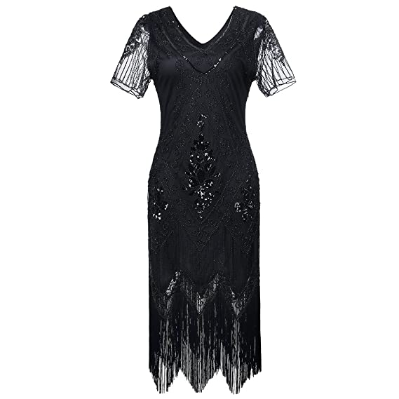 Gatsby 1920s Flapper Dress Women Vintage Sequin Fringe Beaded Art Deco  Fancy Dress with Sleeve for Party Prom  Amazon.co.uk  Clothing 8710ee5f1