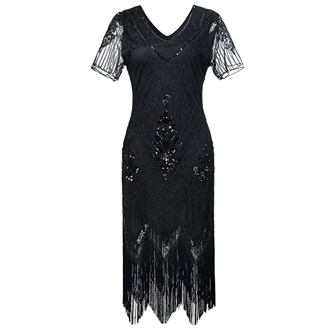 Gatsby 1920s Flapper Dress Women Vintage Sequin Fringe Beaded Art Deco  Fancy Dress with Sleeve for Party Prom  Amazon.co.uk  Clothing aa2ac468e1c3