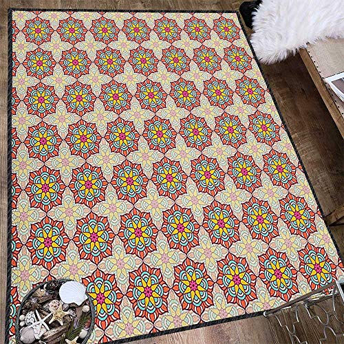 Ethnic Anti-Skid Area Rug,Mosaic Pattern of Ornamental Blossoms in Lively Colors Folkloric Ottoman Art Tile for Hard Floors Multicolor 63
