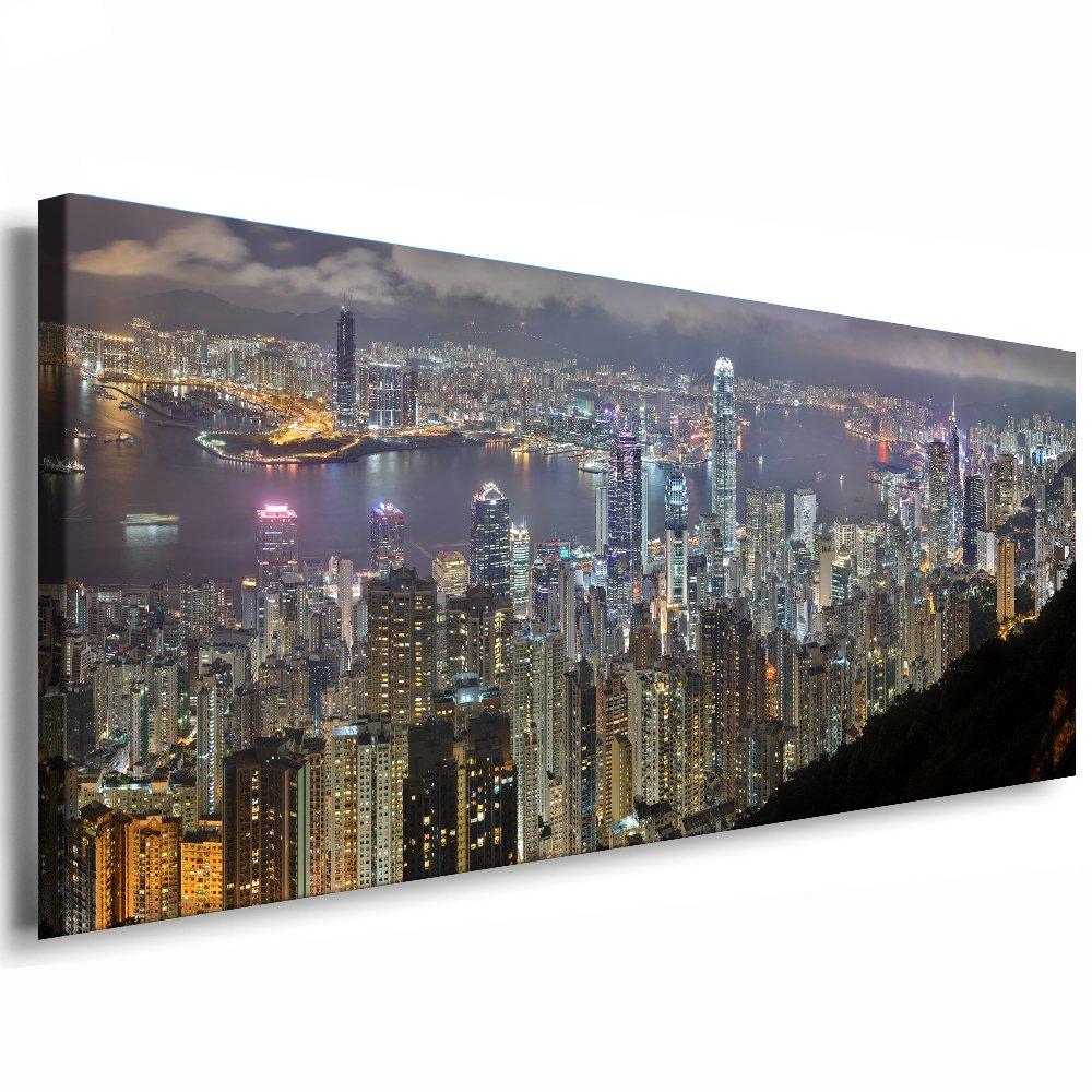 Kunstdruck Hong Kong   Bild 120x50cm   Leinwandbild fertig auf Keilrahmen   Leinwandbilder, Wandbilder, Poster, Pop Art Gemälde, Kunst - Deko Bilder