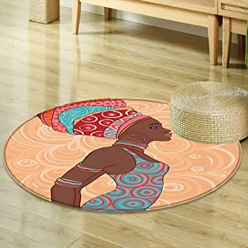 Mikihome Round Area Rug Carpet Afro Decor Ethnic Tribal Woman In Native Clothes Savannah Trends Bohemian