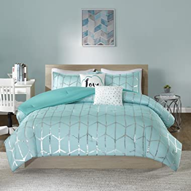 Intelligent Design Raina Comforter Set Full/Queen Size - Aqua Silver, Geometric – 5 Piece Bed Sets – Ultra Soft Microfiber Teen Bedding for Girls Bedroom