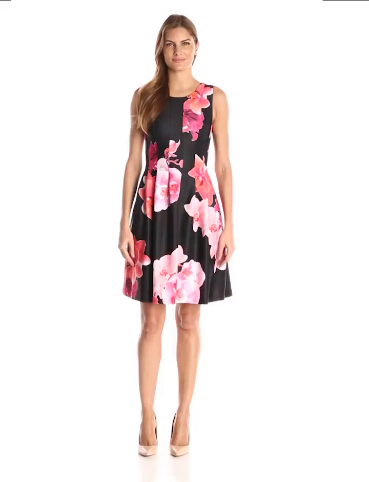 Amazon.com: Calvin Klein Women\'s Floral-Print Fit-and-Flare Dress ...