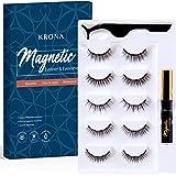 Magnetic Eyelashes With Eyeliner Kit - 1 Tube Of Magnetic Eyeliner & 5 Pairs Of Reusable Falsies With Tweezer - Natural Long Full & Dramatic Looking Eyelashes Set - No More Glue Easy To Wear